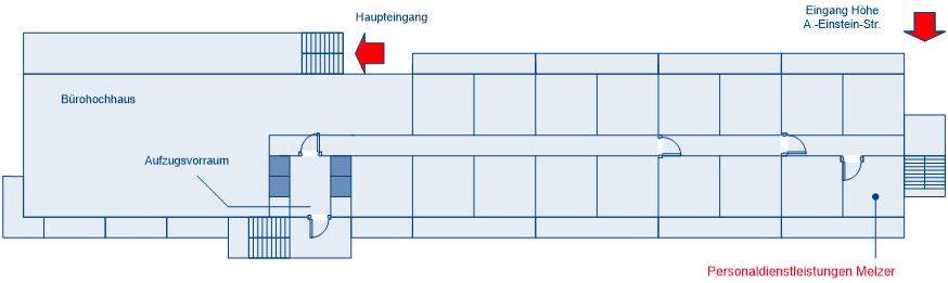 Anfahrt - Grundriss des Bürogebäudes