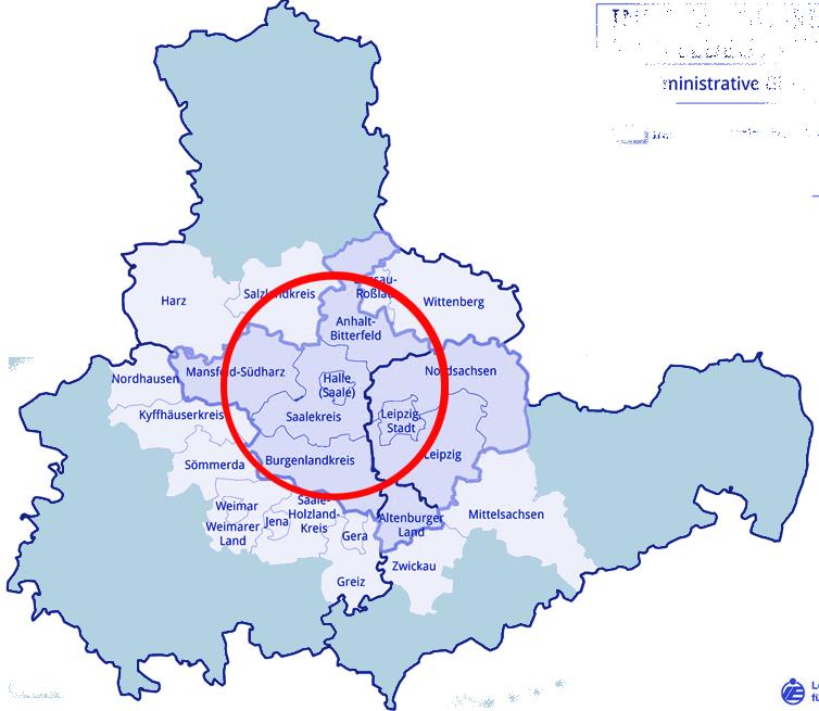Einzugsgebiet der Stadt Halle